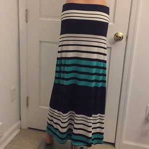 Mossimo blue/white striped maxi skirt